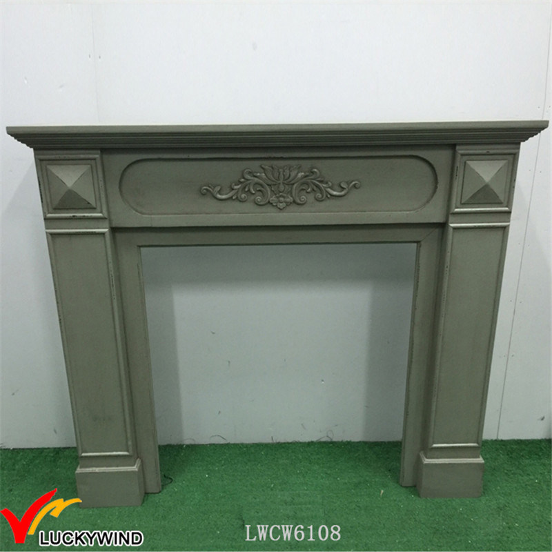 European Style / French Taste Classic Vintage Wooden Fireplace in Green