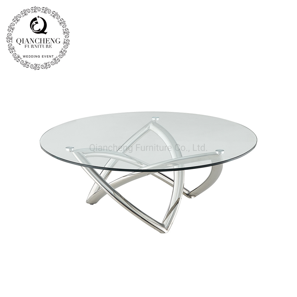 - China Modern Living Room Furniture Coffee Table Round Glass Table