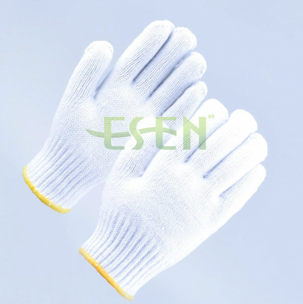 2017 Hot Selling Cotton Gloves 350-900g, Safety Work Glove with Yellow Edge