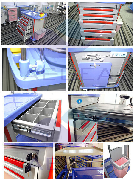 High Quality Durable and Easy Cleaning Hospital Emergency Trolley (AG-ET001A1)