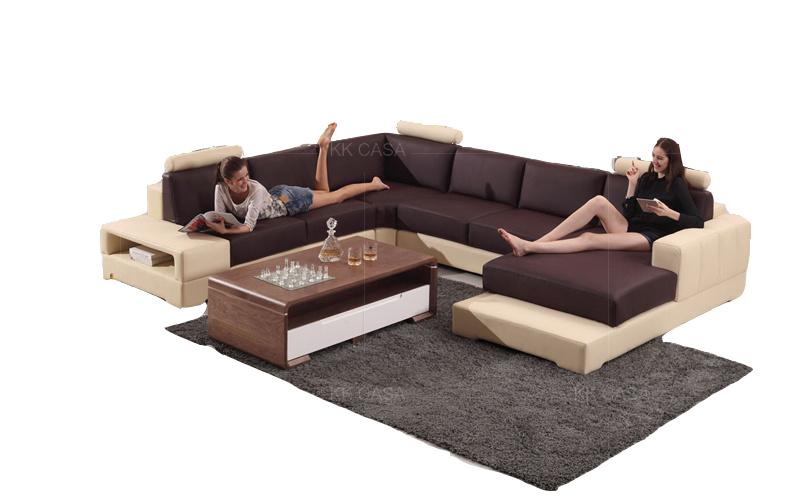 Genuine Leather U Shaped Sectional Sofa