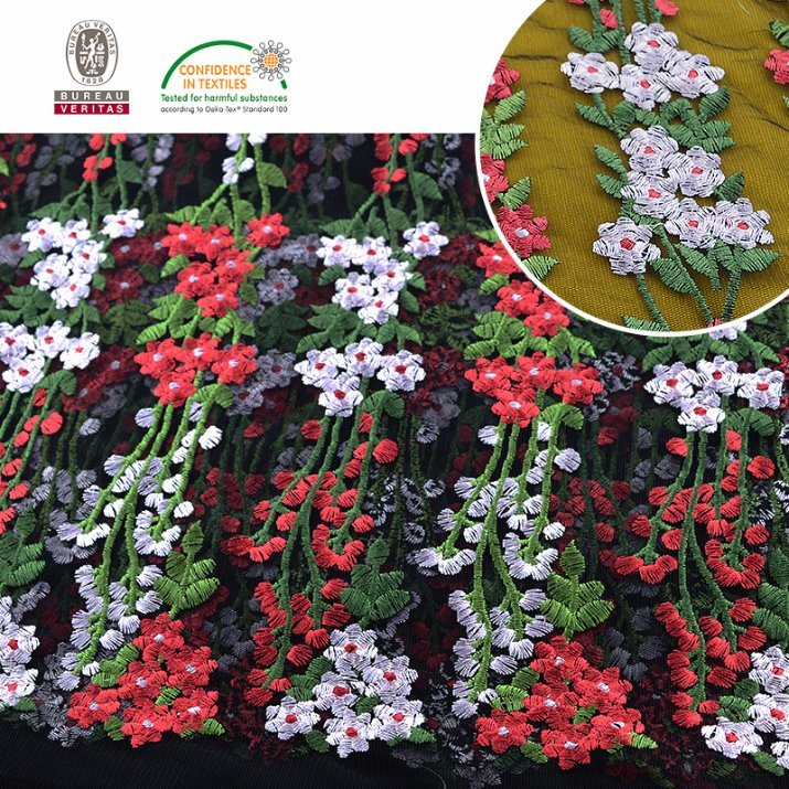 Multi Color Embroidery Mesh Lace Fabric Chemical Lace pictures & photos