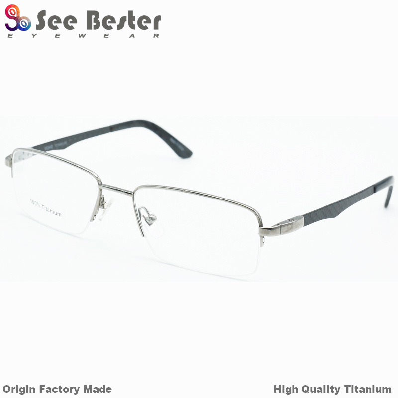 China Fashion 100% Titanium High Quality Half Frame Optical Frames ...