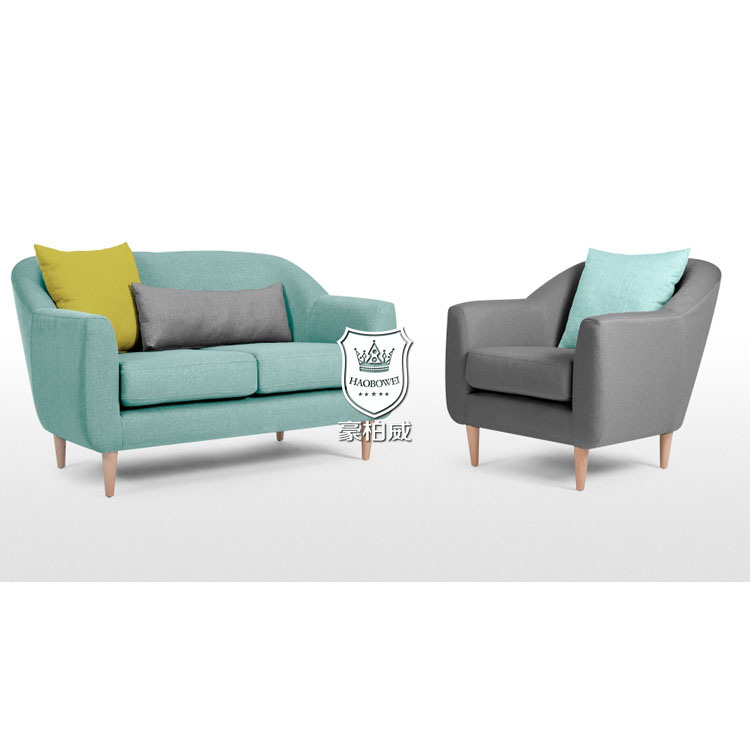 China Apartment Fresh Bright Colored Sofa Set With Oak Legs