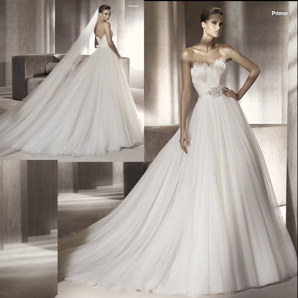 Wedding Gown With Feathers: China Feather Tulle Wedding Dress (111075)