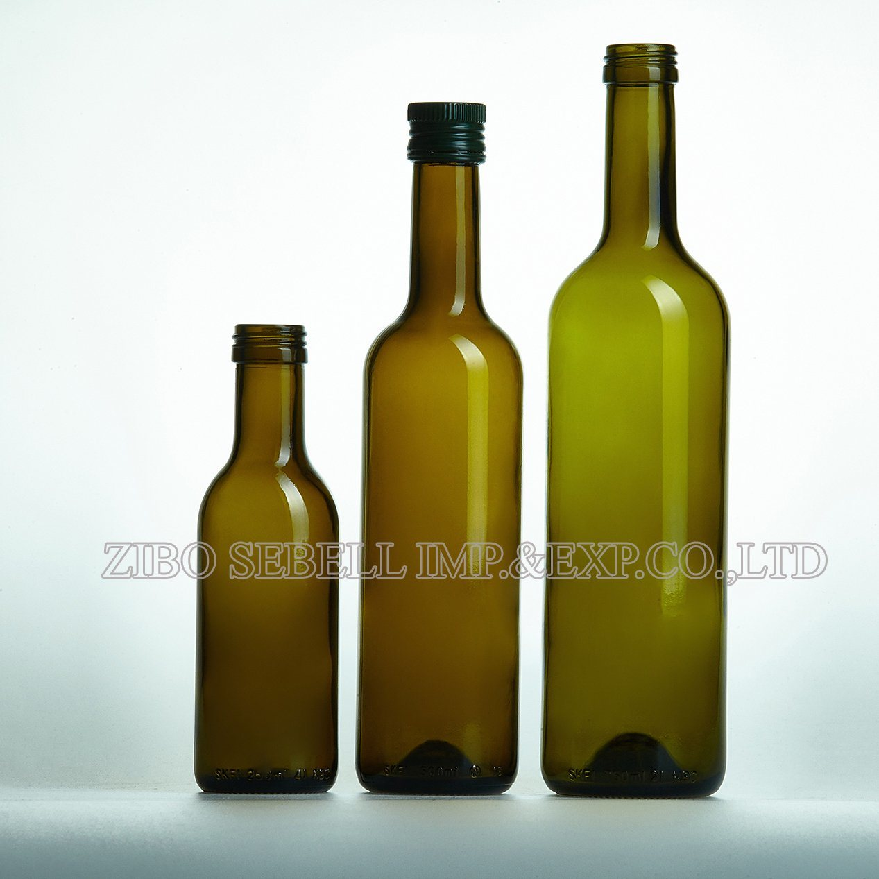 Olive Oil Glass Bottle, 250ml, 500ml, 750ml Dark Green Round