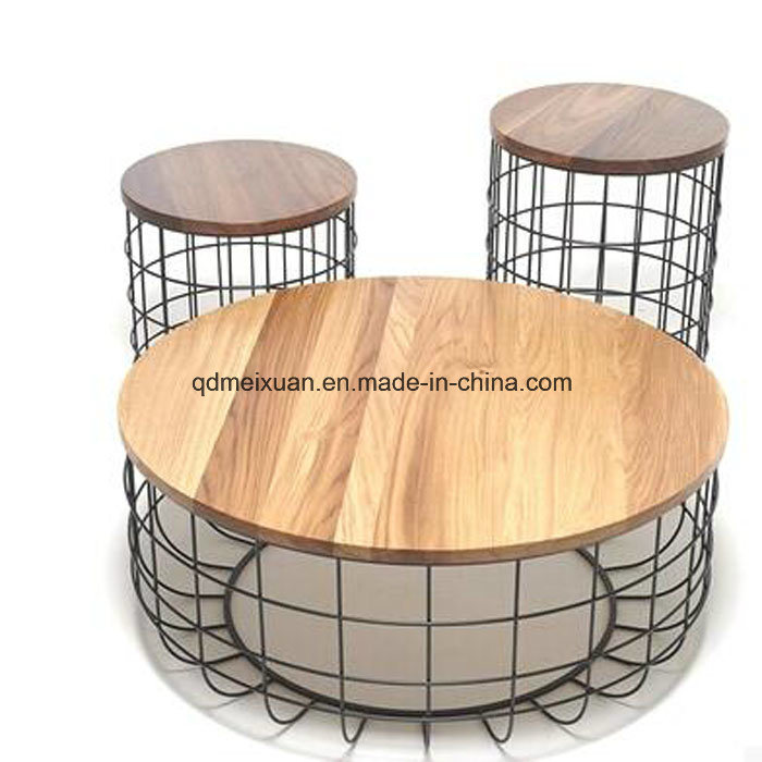 Hot Item American Country Wrought Iron Wood Coffee Table Round Telephone Retro Creative Meal Side Bed Stool M X3408