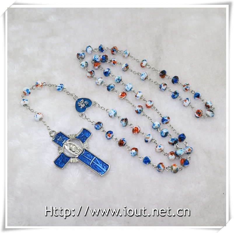 Glass Section Beads Rosary (IO-cr372)