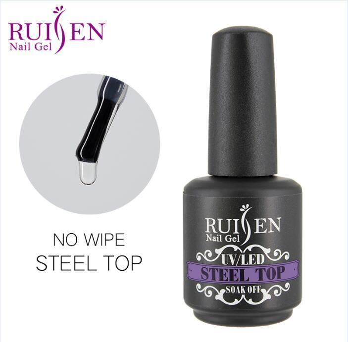 Hot Item Ruisen Brand Factory Price 15ml No Wipe Steel Top Coat Gel Nail Uv Led Gel Poilsh Custom Logo