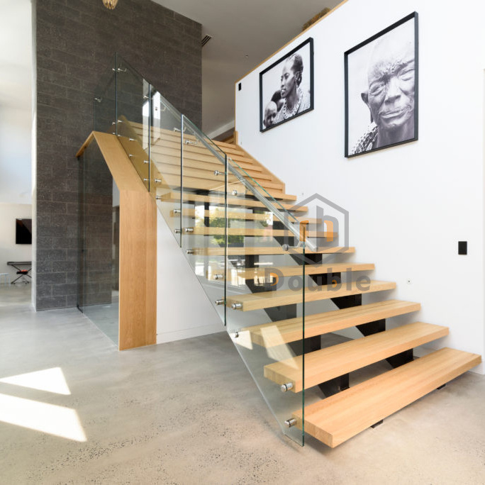China Modern Stairs Design Glass Railing Wood Steps Staircase China Stair Glass Stairs