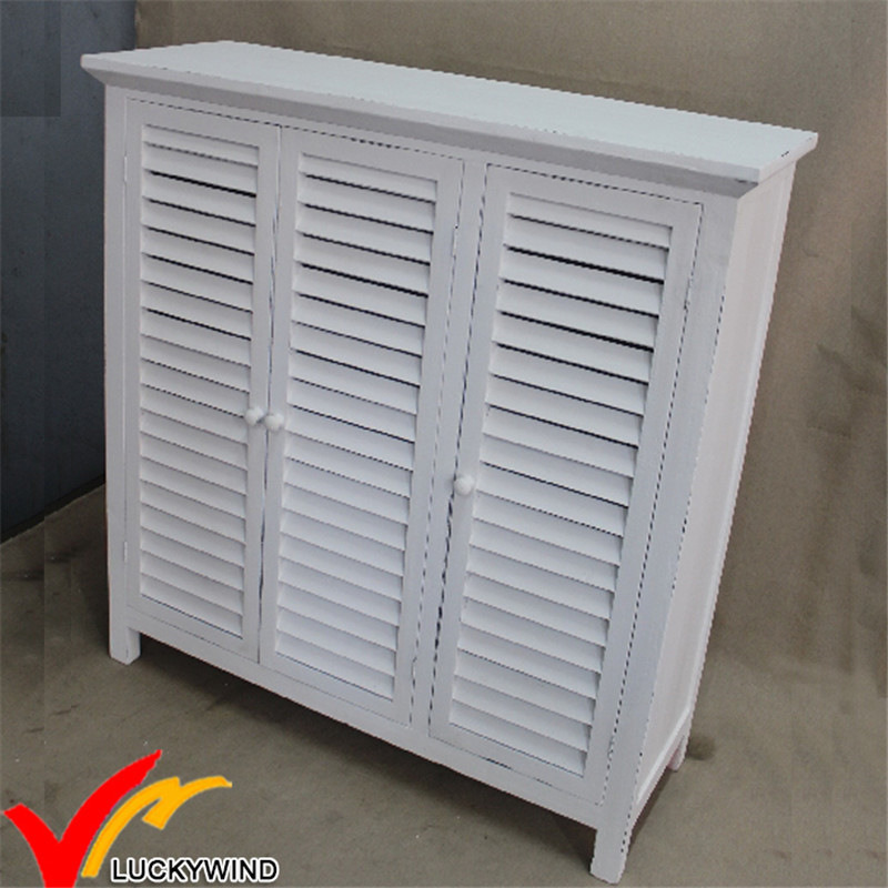 China White Shutter 3 Doors Antique Style Wooden Shoe Cabinet