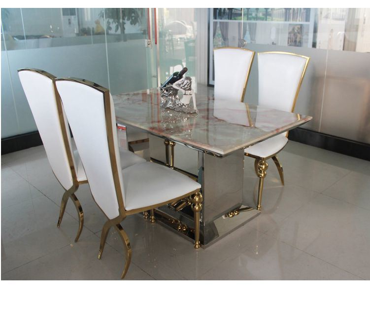[Hot Item] Metal Dining Room Set Tempered Glass Dining Table Sets with 4  Chairs