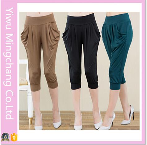 205b0d7f0ef07f 2016 Hot Sale Plus Size High Elestic Milk Silk 3/4 Harem Pants for 150kg  Women