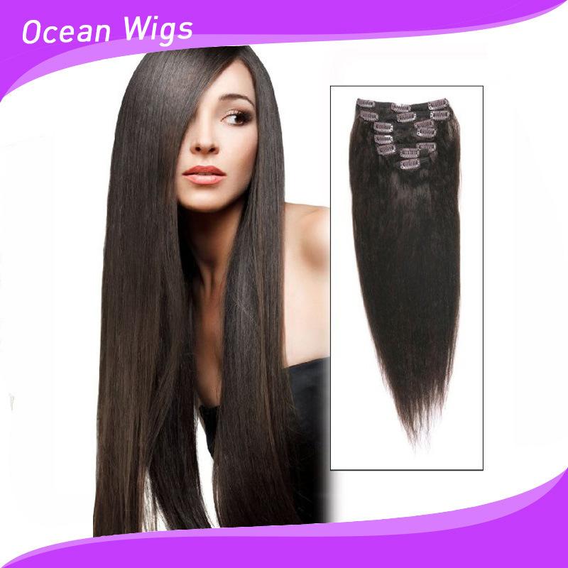 China 2015 Brazilian Hair Clips Virgin Remy Hair Hair Clip In Human