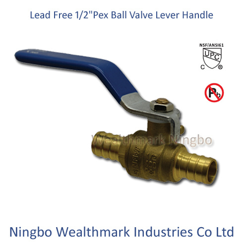 "Lead Free Brass 1/2"" Pex Ball Valve with Lever Handle"