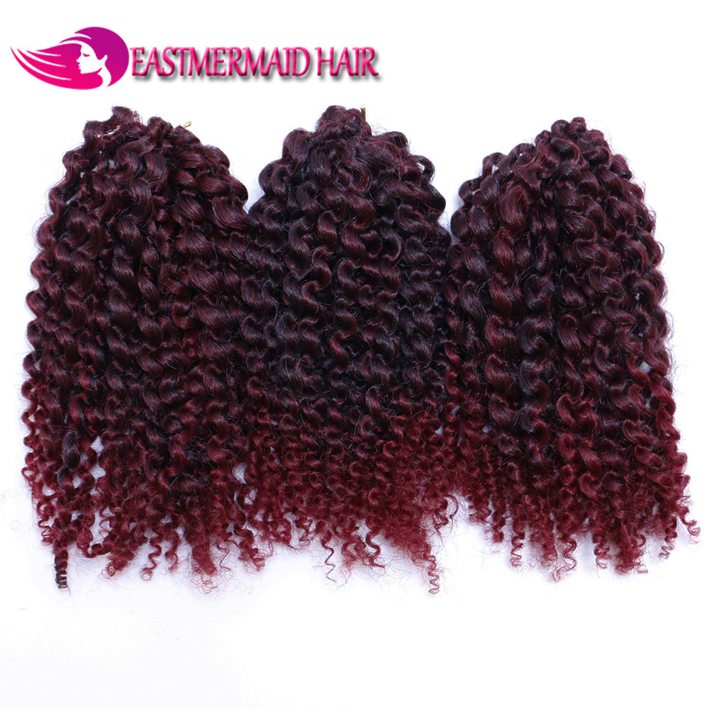 China Beauty 8inch Curly Ombre Synthetic Hair Extensions Braids