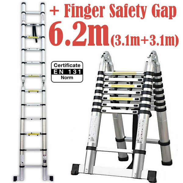 China 6 2m 2 In 1 Telescopic Ladder With Finger Safety Gap