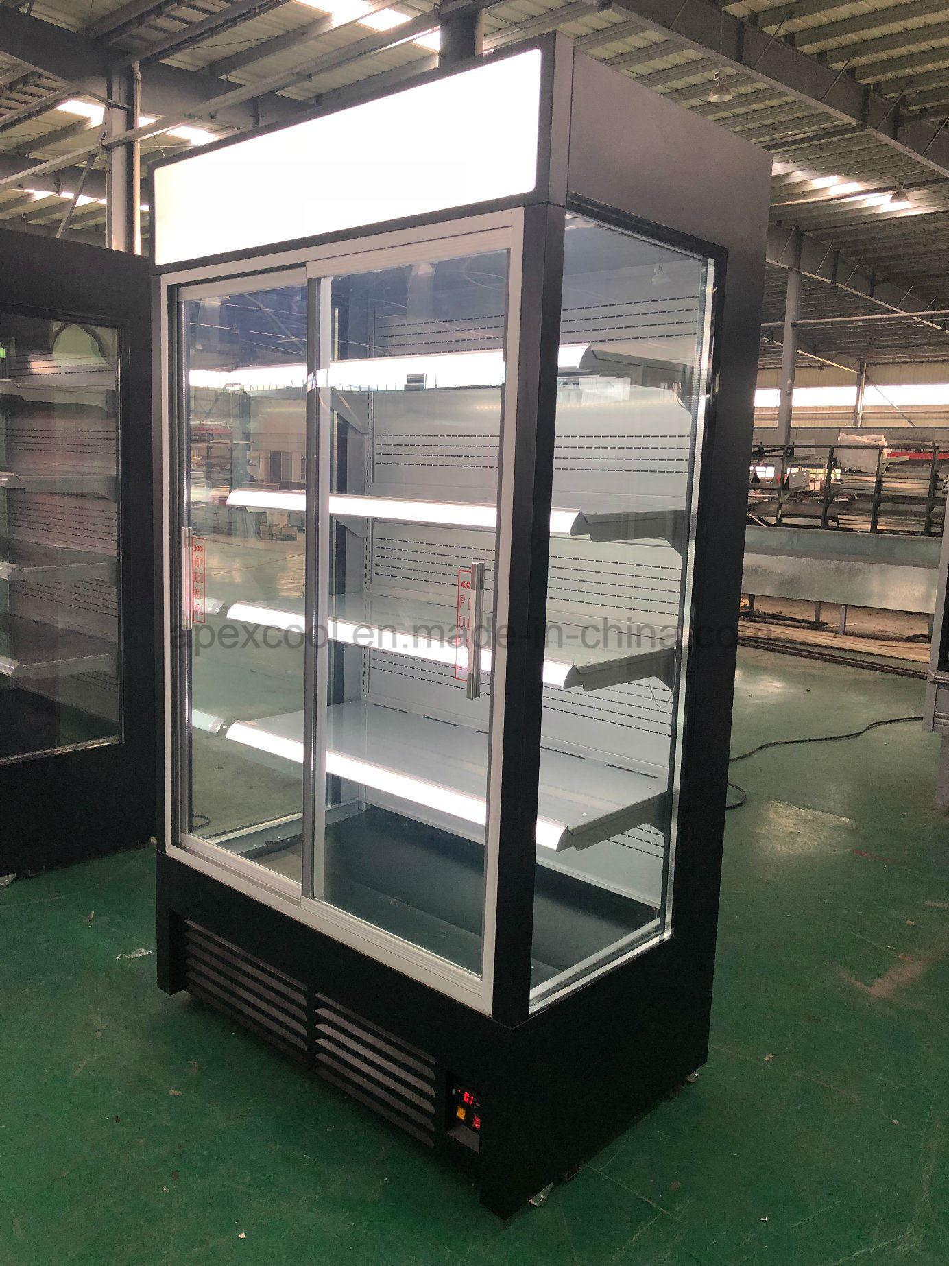 China Commercial Supermarket Glass Door Display Refrigerator Open