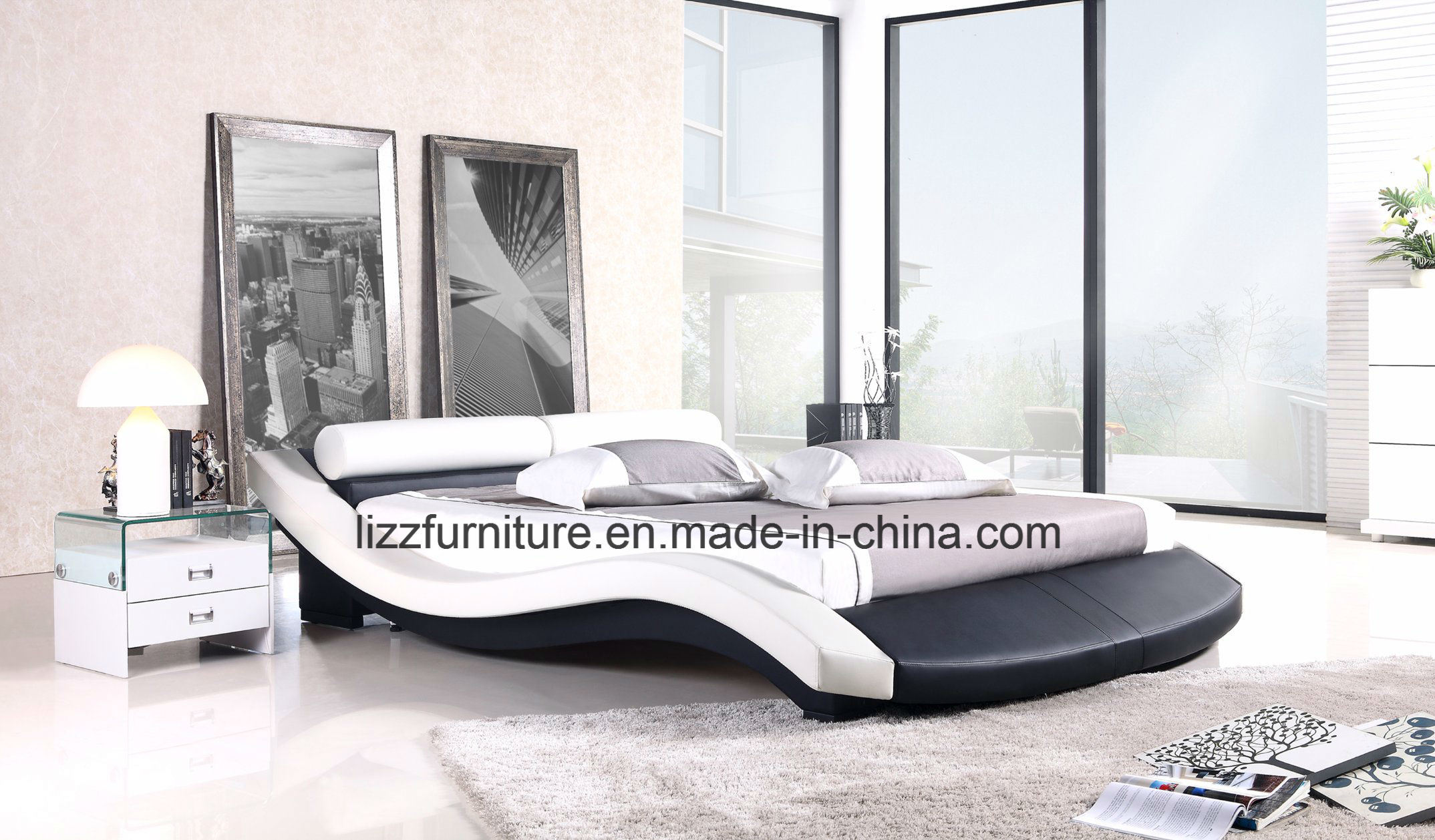China Modular Bedroom Furniture Wave Shape Leather Bed Frame - China ...