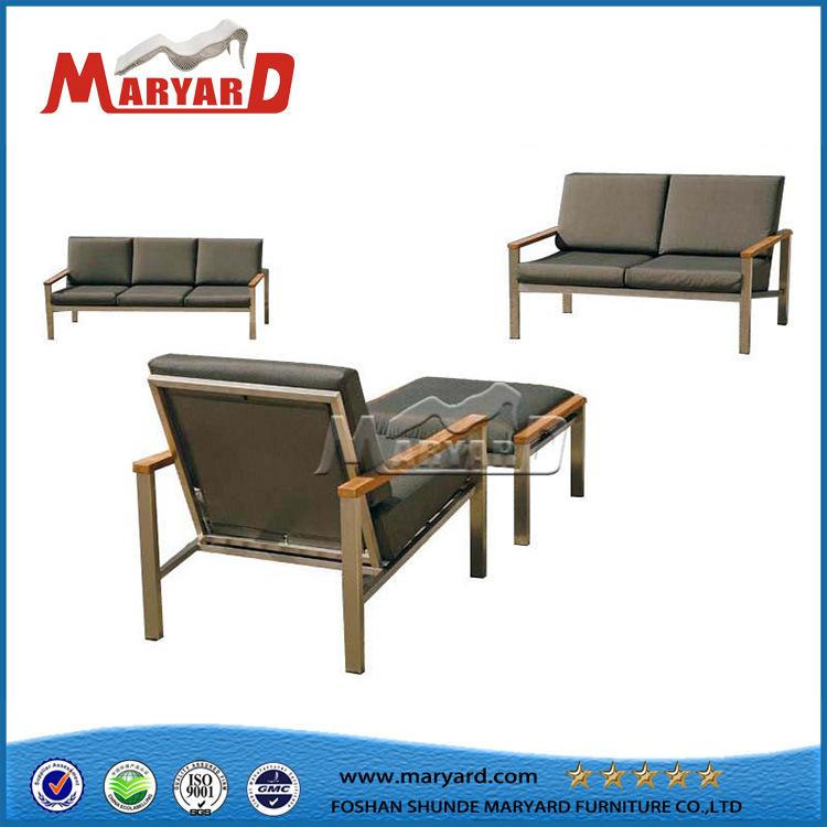 Hot Item Stainless Steel Frame Sofa Set With Solid Teak Wood Armrest