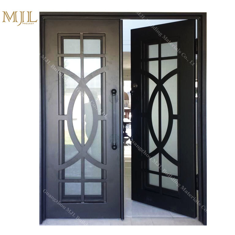 China Double Iron Swing Doors Decorative Iron Entry Door