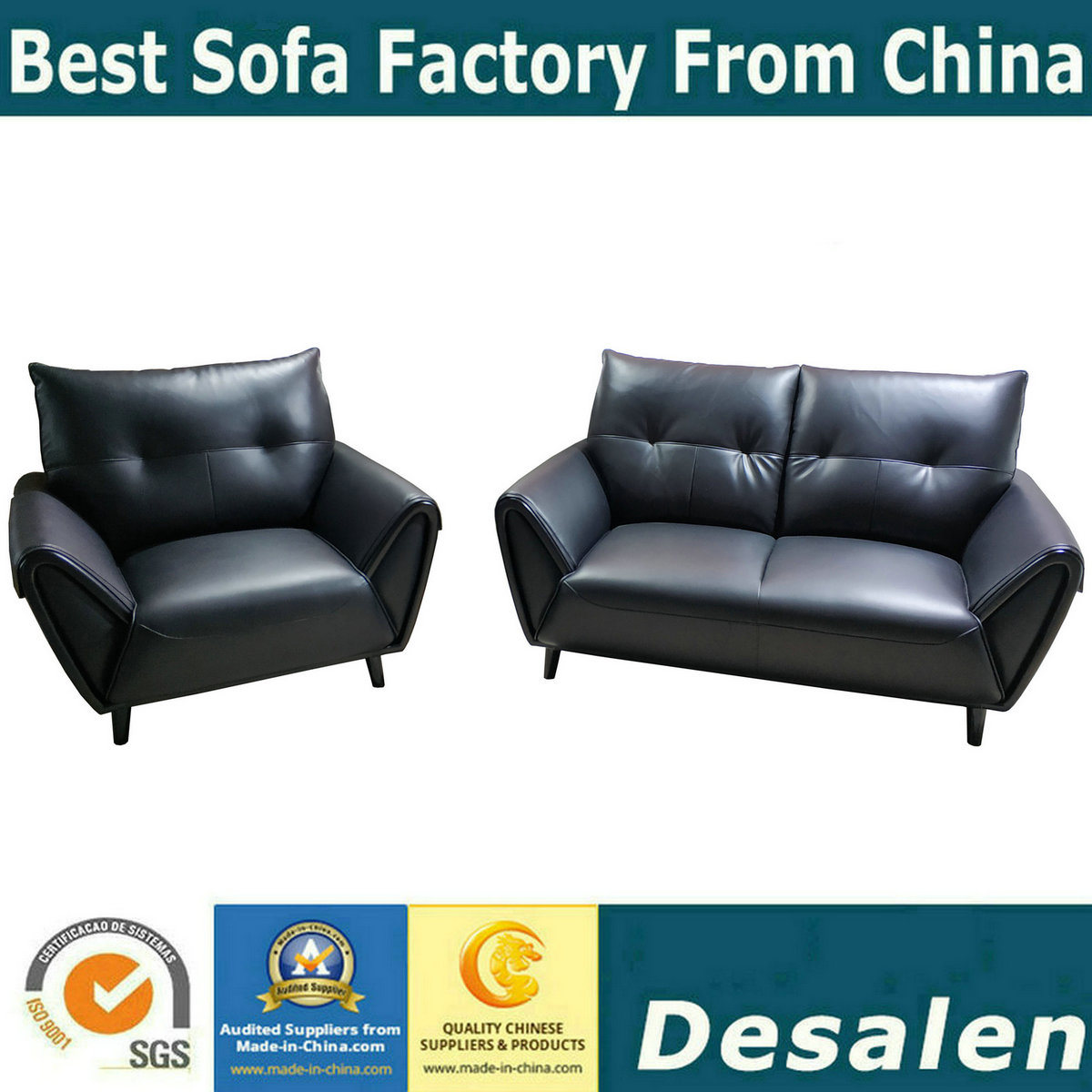 - China Black Color Home Furniture Loveseat Sectional Leather Sofa