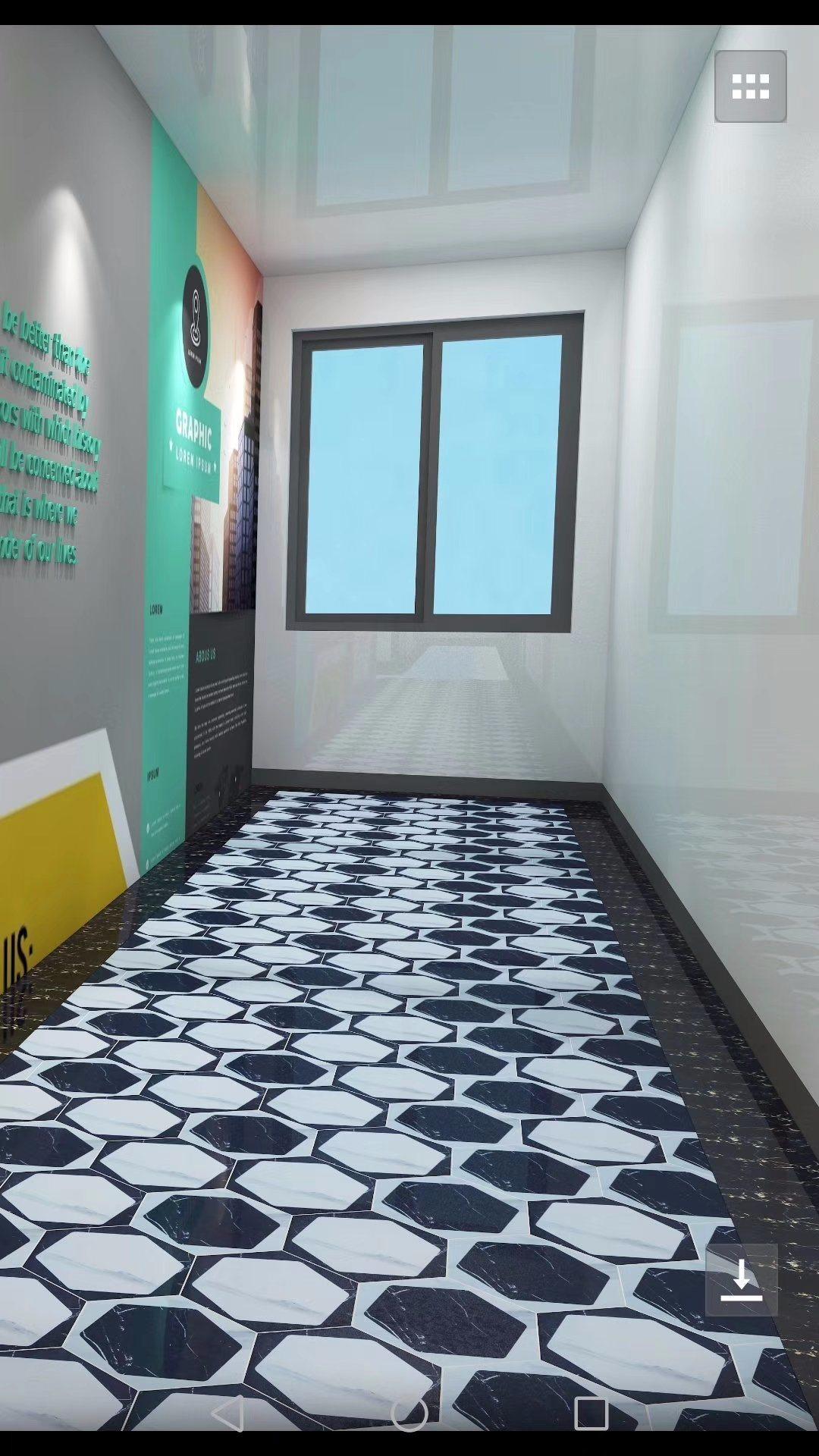 [Hot Item] Mix Color Black White Hexagonal Interior Floor Tiles (9 X 9  X 9 mm)