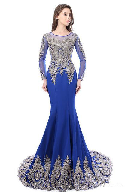 6750eeb442a Mermaid Sheer Long Sleeves Muslim Lace Appliqued Prom Dresses Party Gowns  Evening Dress Women