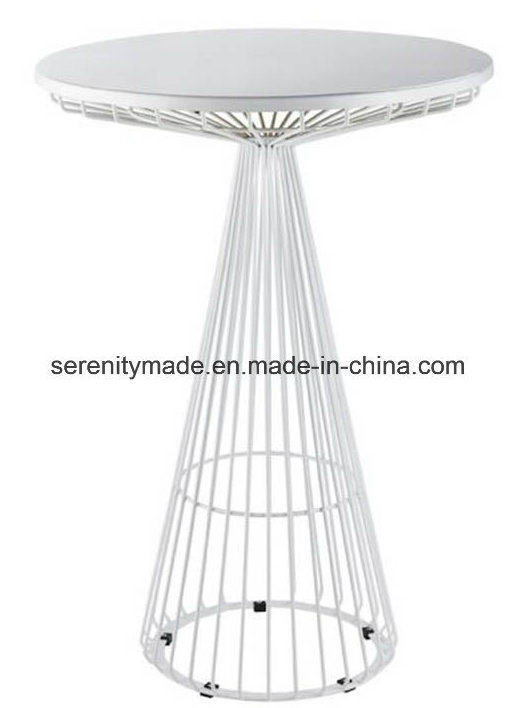 Metal Wire High Bar Table, Outdoor Glass Top Bar Table
