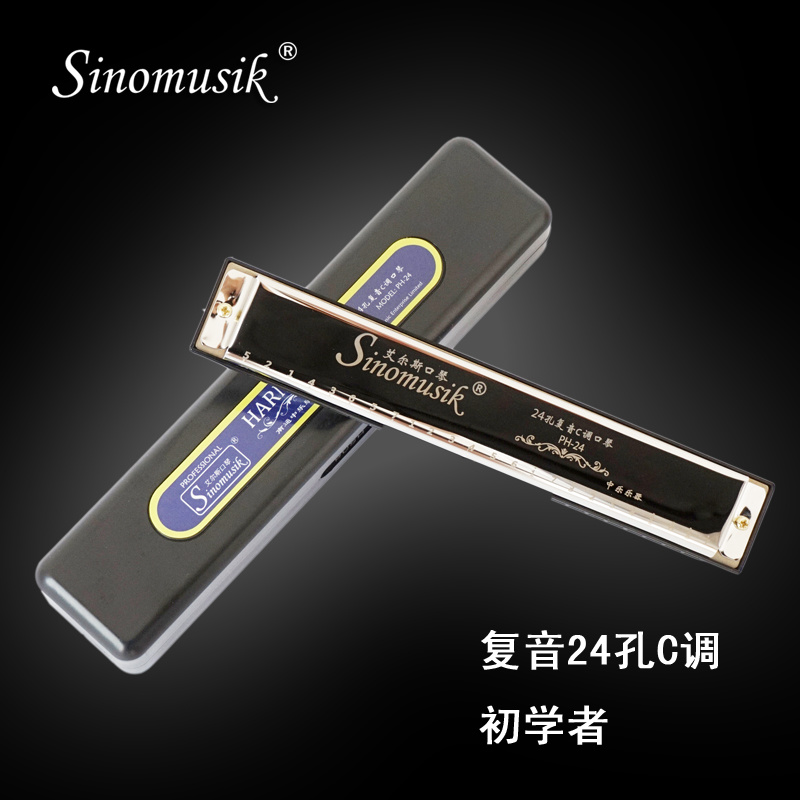 [Hot Item] 24 Holes Blues Harp C Tone Professional Harmonica