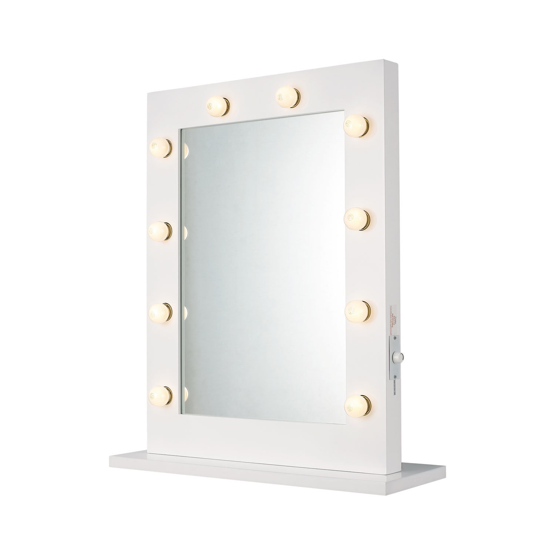 Hot Item Wooden Framed Rectangular Led Globe Bulb Lighted Vanity Mirror For Makeup Use