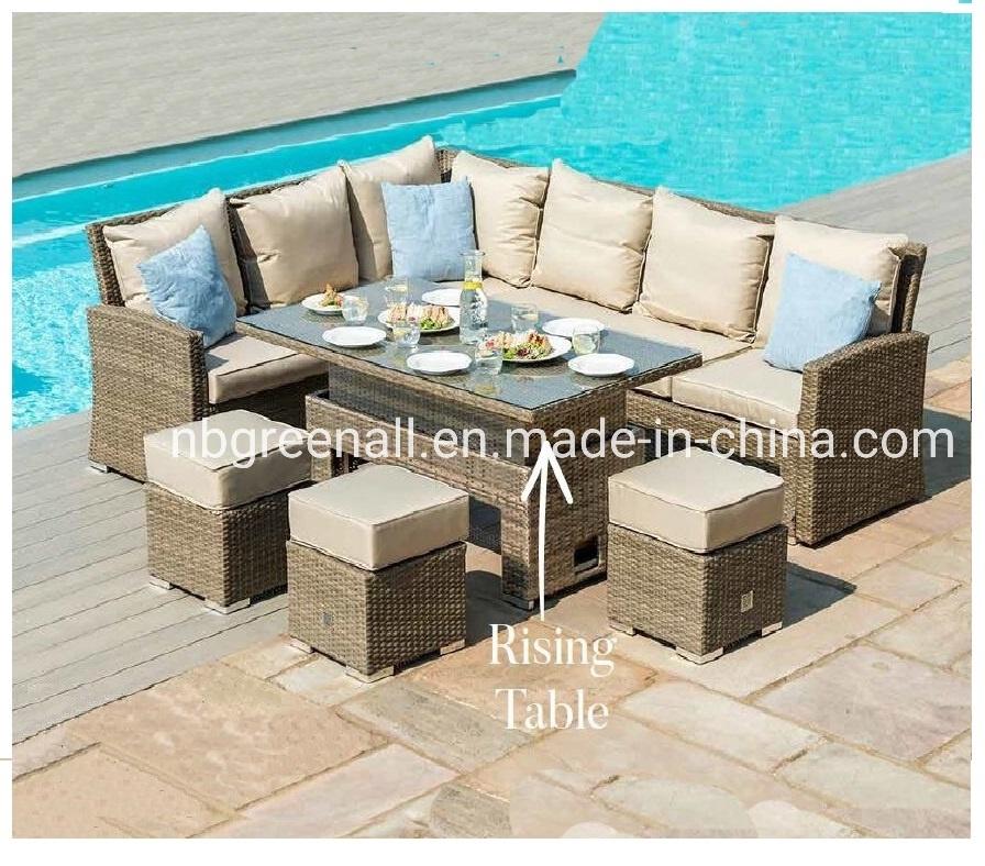 [Hot Item] 8 New Corner Dining Rising Table Outdoor Garden Patio Rattan  Wicker Furniture