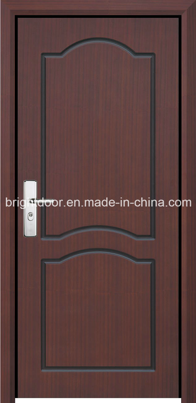 China single solid wooden veneer carving main door design for Modern wooden main single door design
