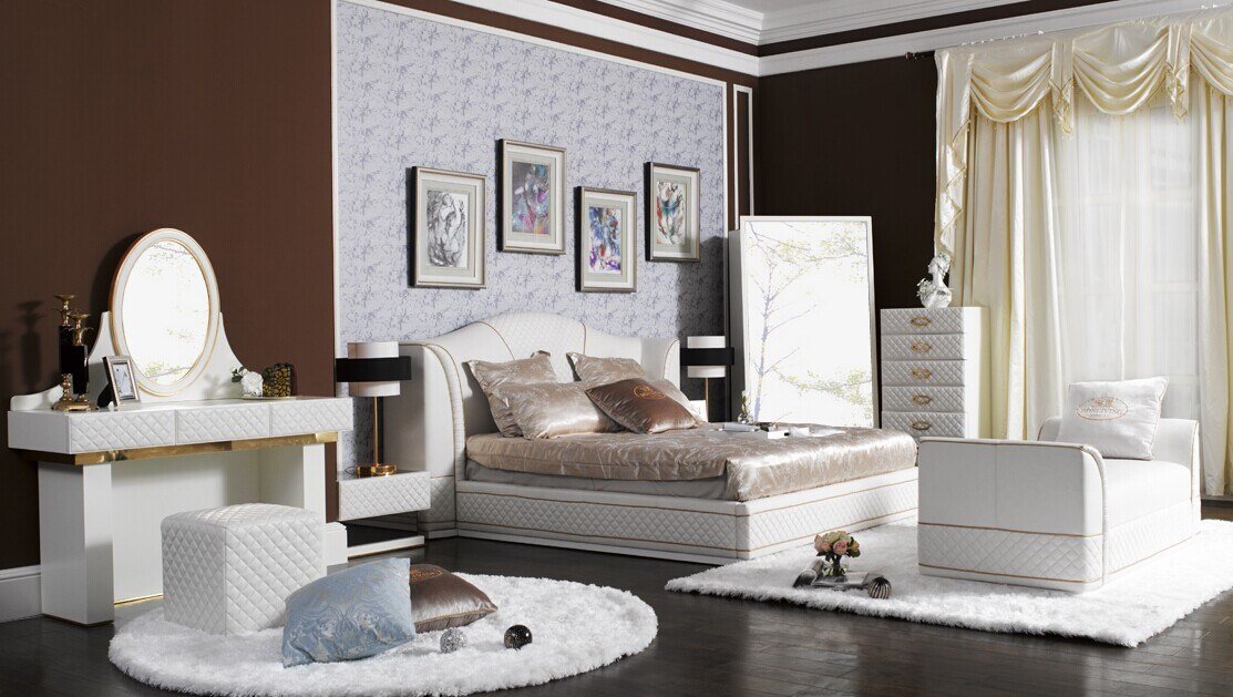 White Genuine Leather Bedroom Furniture (B003)