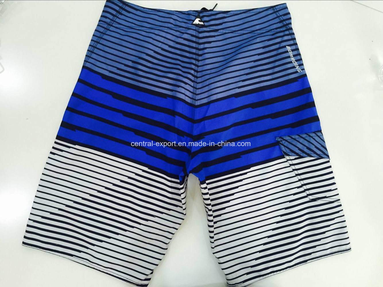 Oeko-Tex Flat Waist Polyester Striped Men Board Short Swimwear pictures & photos