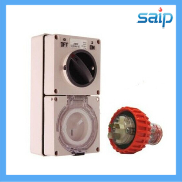 20 Amp 5 pin Weatherproof Switched Socket Outlet IP66 Straight Plug Male