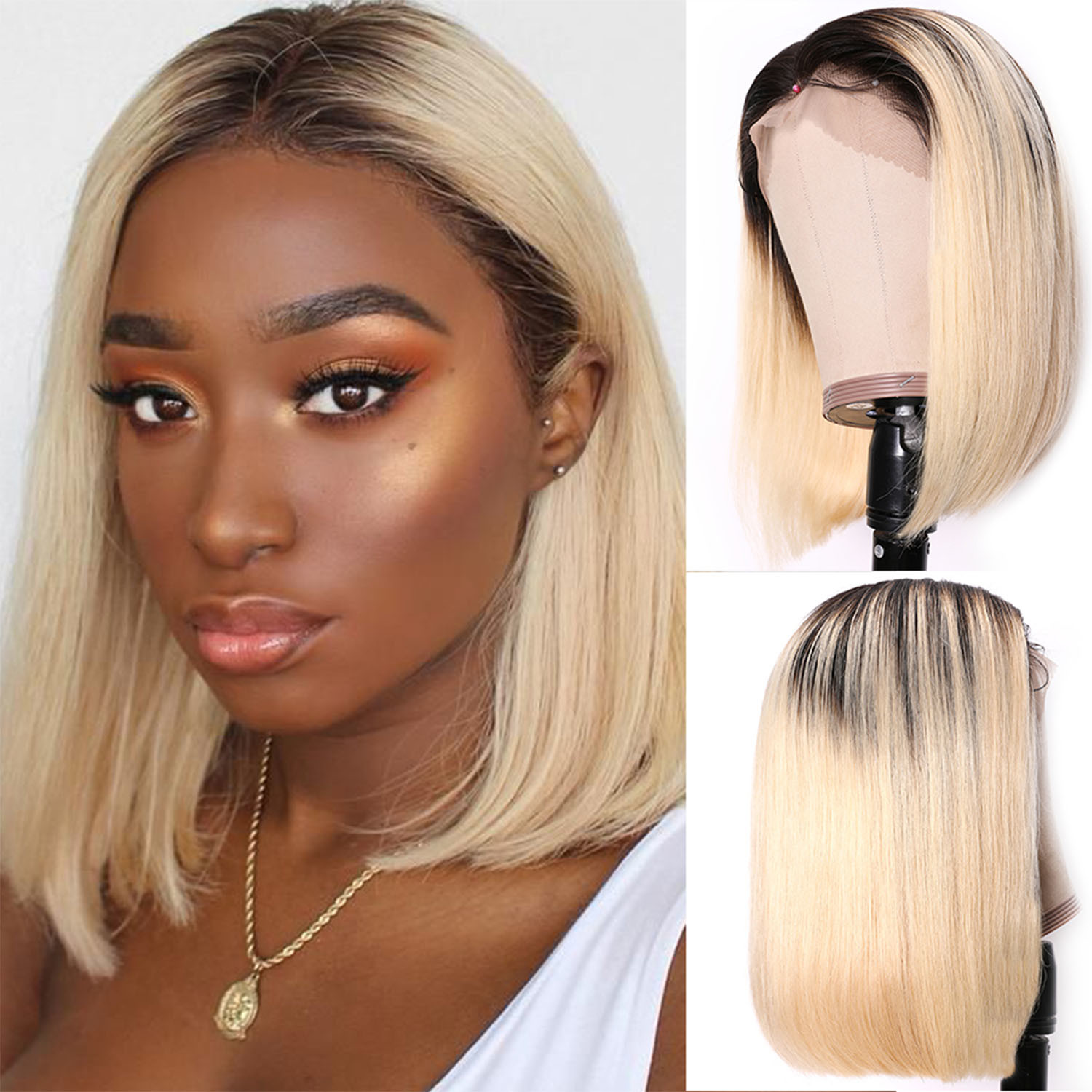 China 13x4 Short Bob Lace Front Wig Human Hair 150 Density 14inch Ombre Color T1b 613 China Short Bob Wig Short Human Hair Wig