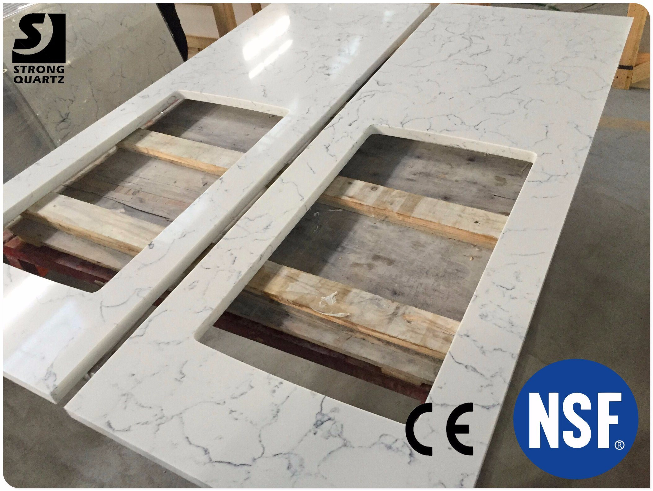 China Cut To Size Quartz Stone Carrara White Countertop Prefabricated Kitchen