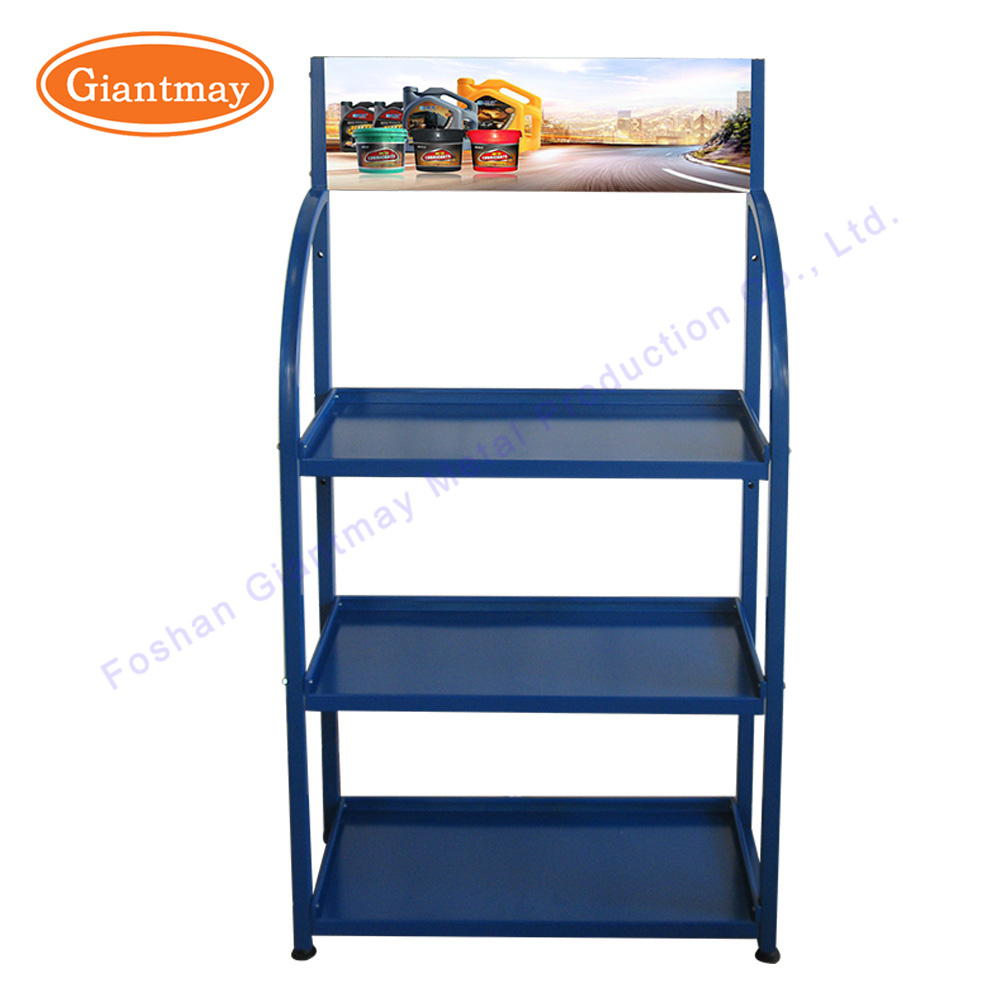 China Floor Stand Metal Car Accessories Shop Battery Storage Trade - Car show display accessories