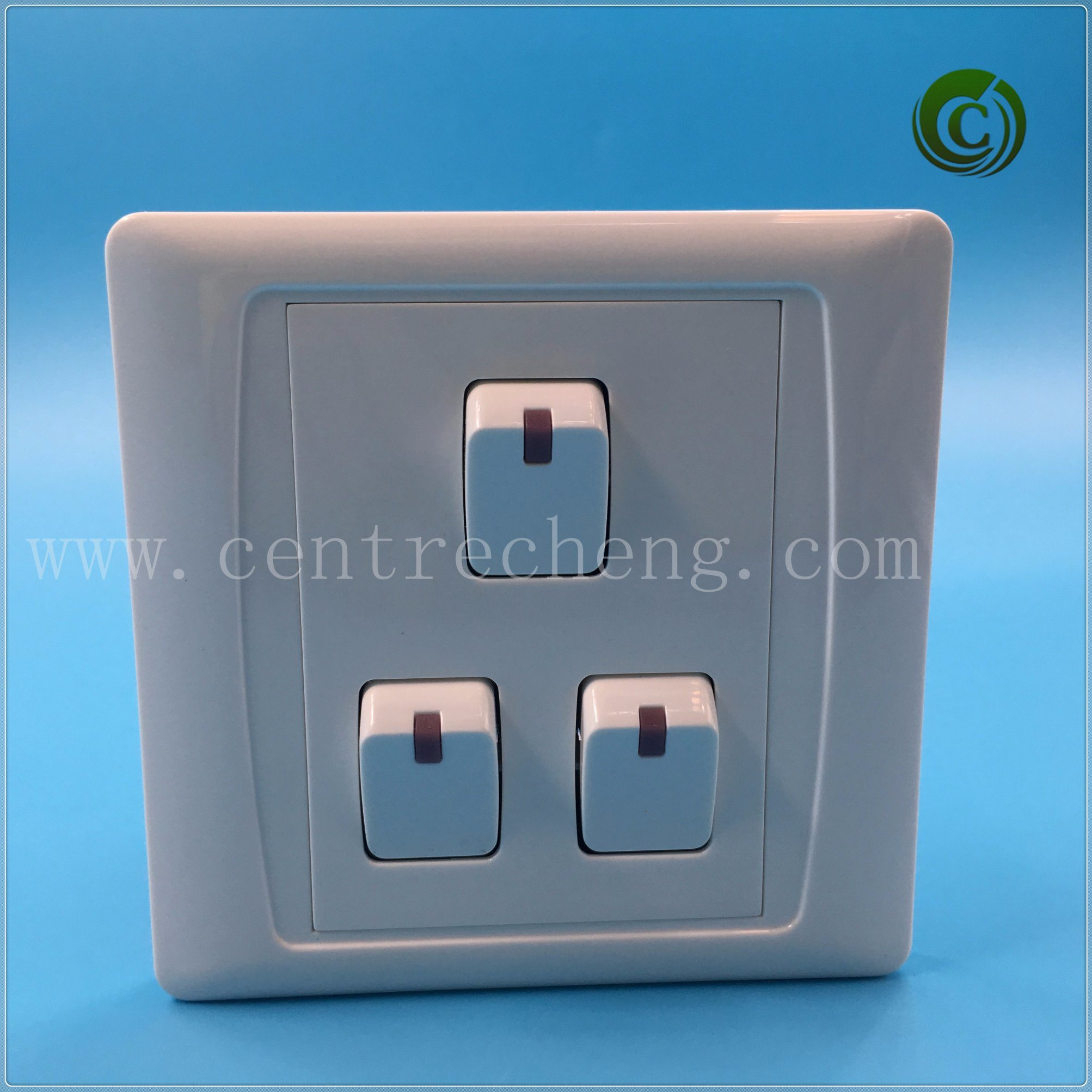 China 3 Gang 2 Way Switch White Wall Electrical For Light European Electrician Plate Hotel