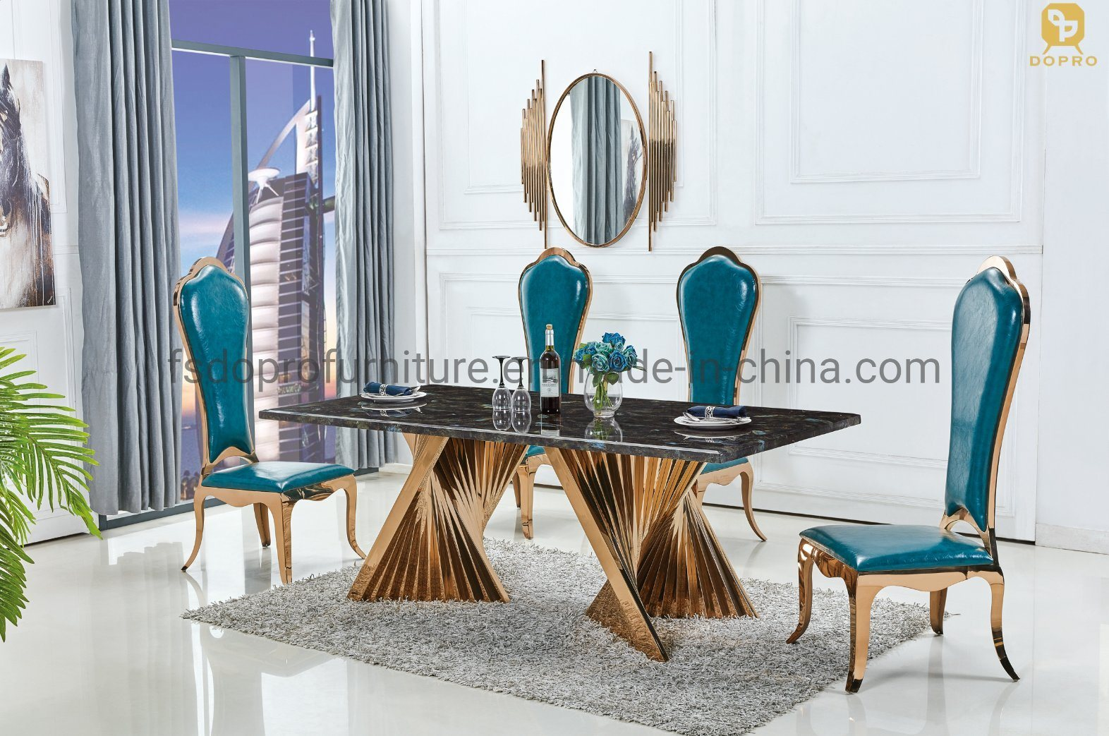 China Italian Rose Gold Rectangle, Gold Dining Room Sets