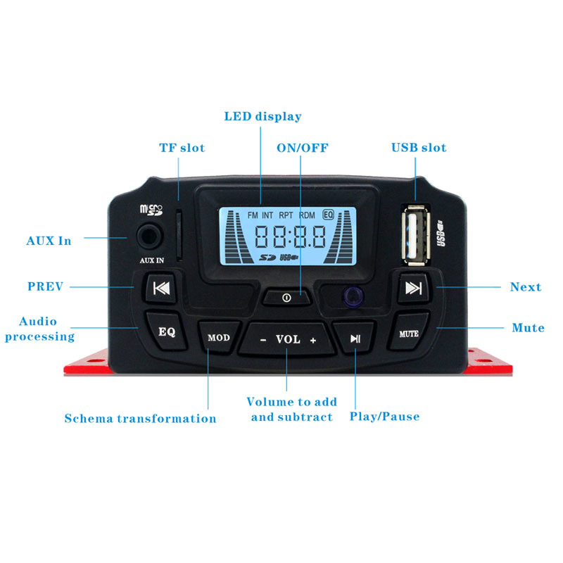Powerful Car Motorcycle Amplifier Motorcycle Audio Radio Player