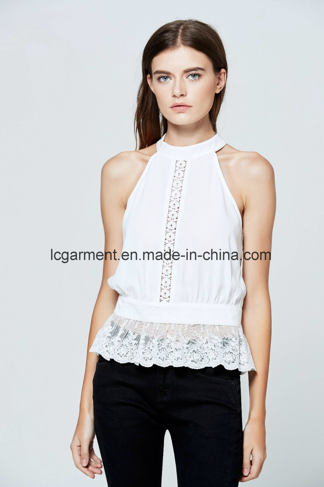 144cef6d977aa China Wholesale Princess Cutting Ladies Sexy Vest Halter Neck off Shoulder  Tops - China High Quality Chiffon Tops for Girls