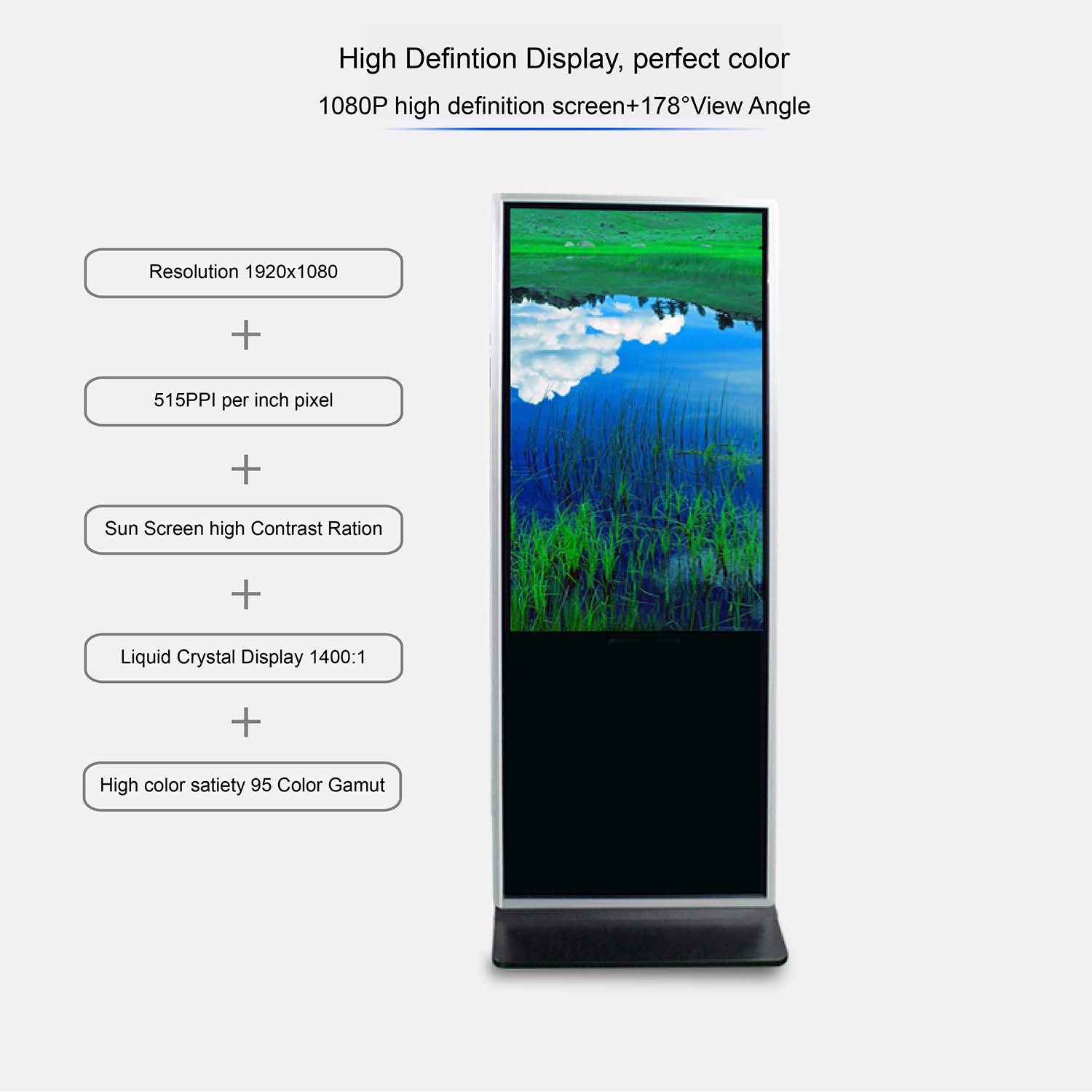 China Digital Video Advertising Free Standing Kiosk Totem High Lcd Liquid Crystal Display Definition Indoor Touch Screen