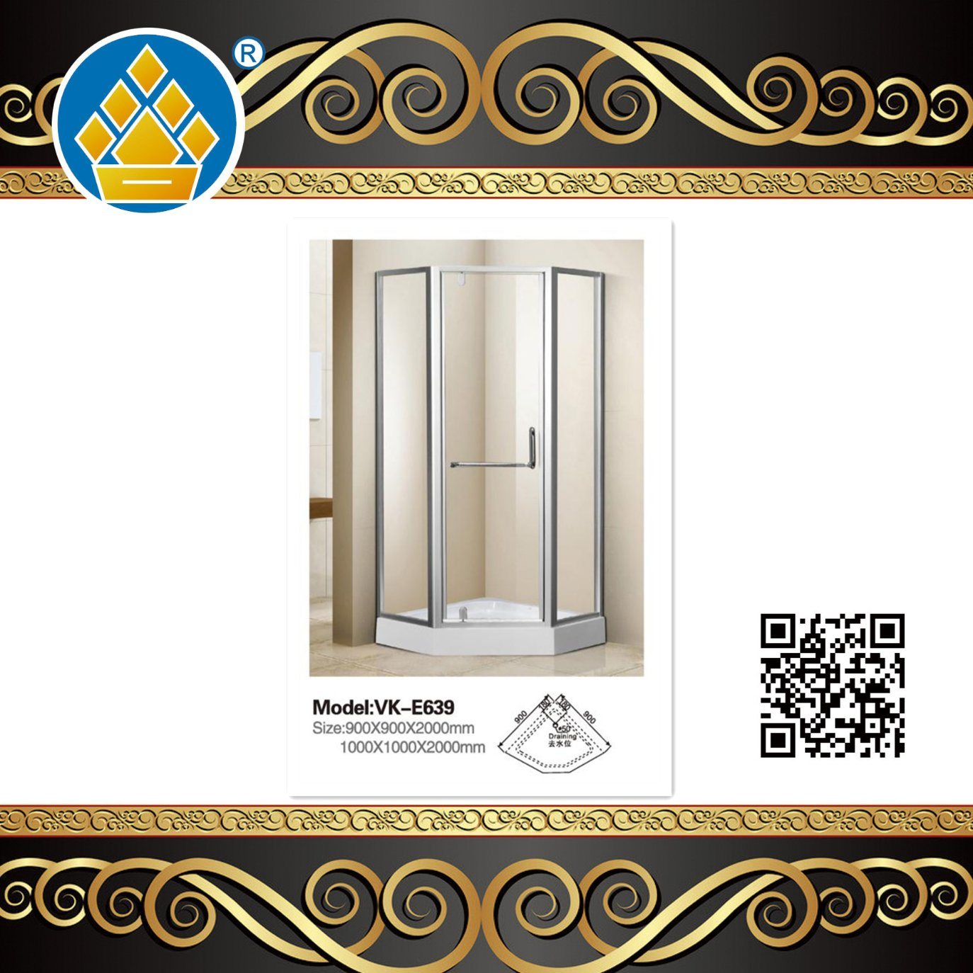 Hot Item Modern Series Portable Frosted Glass Shower Enclosure Diamond Shape Shower Room Shower Cabin With French Antique Brass Plate