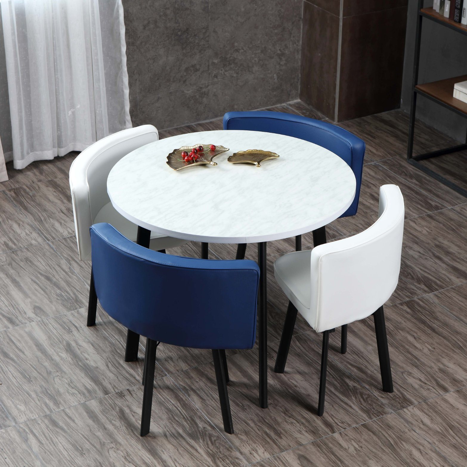 [Hot Item] Hot Sale Home Furniture Round Table Set with Four Chairs Dining  Table Chair Set Wooden Commerical Dining Room Chair and Desk