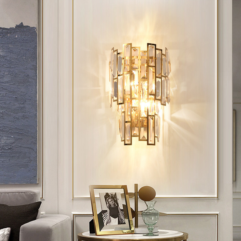 Gold Crystal Wall Sconce Light