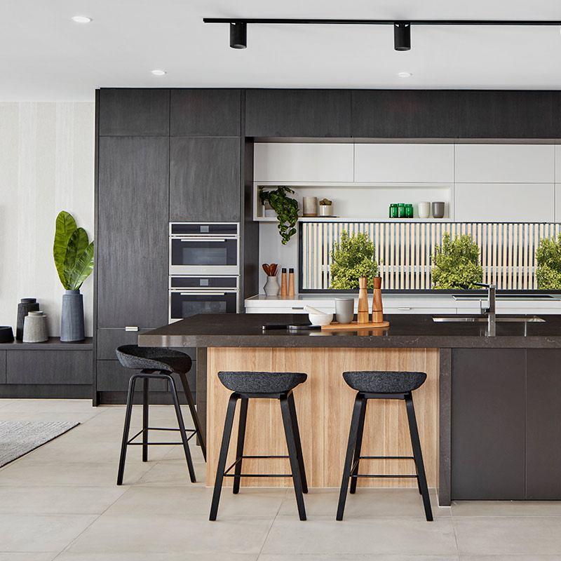 China New Trend Dark Color Wood Grain Kitchen Cabinets ...