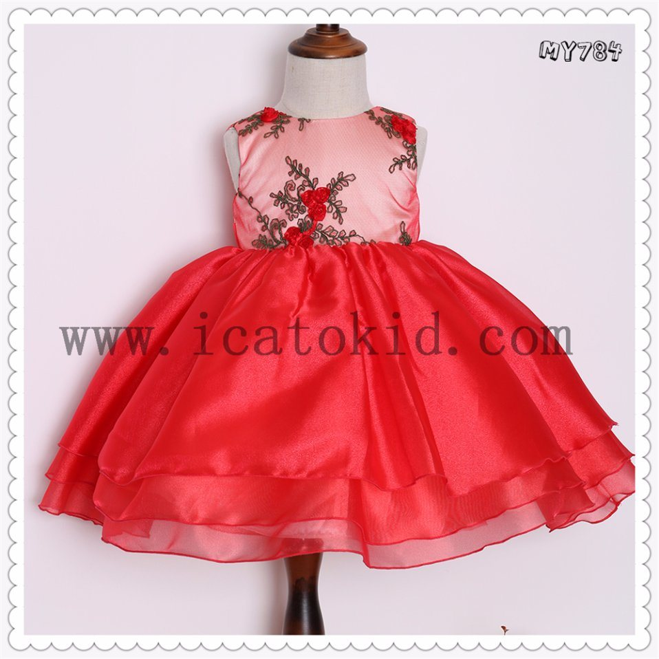 7ecee13dbbe6 China Baby Frock Designs Red Flower Bodice Infant Children Dress ...