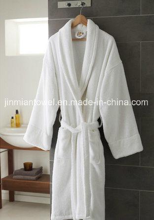 China 100 Cotton Towelling Robe Dressing Gown White Bathrobe Photos